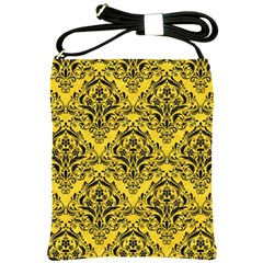 Damask1 Black Marble & Yellow Colored Pencil Shoulder Sling Bags