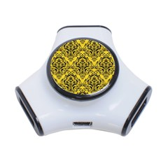 Damask1 Black Marble & Yellow Colored Pencil 3 Port Usb Hub