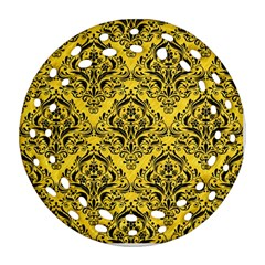 Damask1 Black Marble & Yellow Colored Pencil Round Filigree Ornament (two Sides)