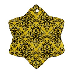 Damask1 Black Marble & Yellow Colored Pencil Snowflake Ornament (two Sides)