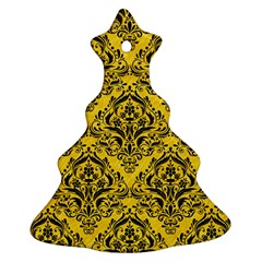 Damask1 Black Marble & Yellow Colored Pencil Christmas Tree Ornament (two Sides)