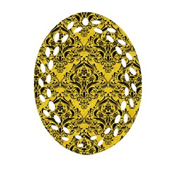 Damask1 Black Marble & Yellow Colored Pencil Oval Filigree Ornament (two Sides)