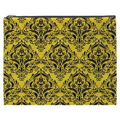 Damask1 Black Marble & Yellow Colored Pencil Cosmetic Bag (xxxl)