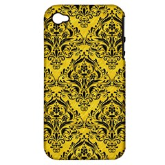 Damask1 Black Marble & Yellow Colored Pencil Apple Iphone 4/4s Hardshell Case (pc+silicone)