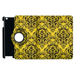 Damask1 Black Marble & Yellow Colored Pencil Apple Ipad 3/4 Flip 360 Case