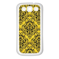 Damask1 Black Marble & Yellow Colored Pencil Samsung Galaxy S3 Back Case (white)
