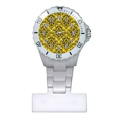 Damask1 Black Marble & Yellow Colored Pencil Plastic Nurses Watch