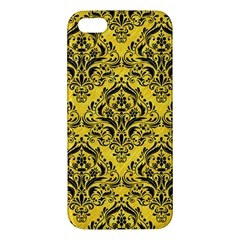 Damask1 Black Marble & Yellow Colored Pencil Iphone 5s/ Se Premium Hardshell Case