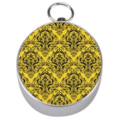 Damask1 Black Marble & Yellow Colored Pencil Silver Compasses
