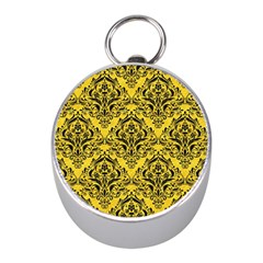 Damask1 Black Marble & Yellow Colored Pencil Mini Silver Compasses