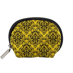 Damask1 Black Marble & Yellow Colored Pencil Accessory Pouches (small)