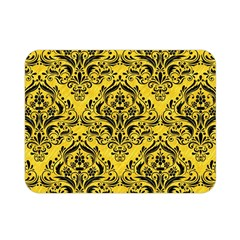 Damask1 Black Marble & Yellow Colored Pencil Double Sided Flano Blanket (mini)