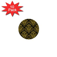 Damask1 Black Marble & Yellow Colored Pencil (r) 1  Mini Buttons (10 Pack)