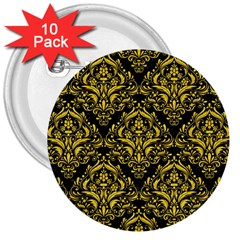 Damask1 Black Marble & Yellow Colored Pencil (r) 3  Buttons (10 Pack)