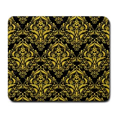 Damask1 Black Marble & Yellow Colored Pencil (r) Large Mousepads
