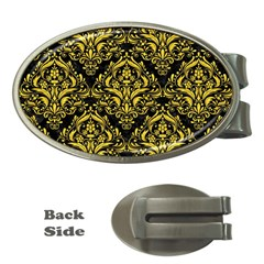 Damask1 Black Marble & Yellow Colored Pencil (r) Money Clips (oval)