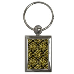 Damask1 Black Marble & Yellow Colored Pencil (r) Key Chains (rectangle)