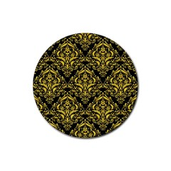 Damask1 Black Marble & Yellow Colored Pencil (r) Rubber Round Coaster (4 Pack)