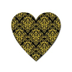 Damask1 Black Marble & Yellow Colored Pencil (r) Heart Magnet
