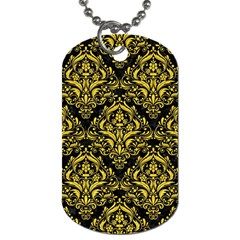 Damask1 Black Marble & Yellow Colored Pencil (r) Dog Tag (one Side)
