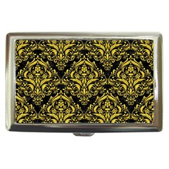 Damask1 Black Marble & Yellow Colored Pencil (r) Cigarette Money Cases
