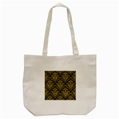 Damask1 Black Marble & Yellow Colored Pencil (r) Tote Bag (cream)