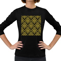 Damask1 Black Marble & Yellow Colored Pencil (r) Women s Long Sleeve Dark T Shirts