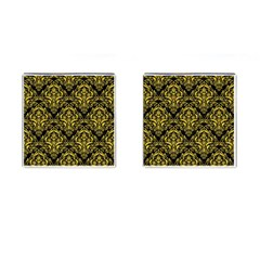 Damask1 Black Marble & Yellow Colored Pencil (r) Cufflinks (square)