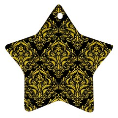Damask1 Black Marble & Yellow Colored Pencil (r) Star Ornament (two Sides)