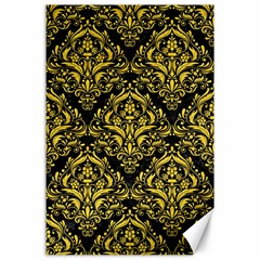 Damask1 Black Marble & Yellow Colored Pencil (r) Canvas 24  X 36