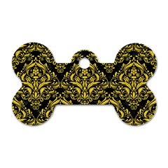 Damask1 Black Marble & Yellow Colored Pencil (r) Dog Tag Bone (two Sides)