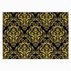 Damask1 Black Marble & Yellow Colored Pencil (r) Large Glasses Cloth