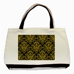 Damask1 Black Marble & Yellow Colored Pencil (r) Basic Tote Bag (two Sides)