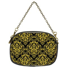 Damask1 Black Marble & Yellow Colored Pencil (r) Chain Purses (one Side)