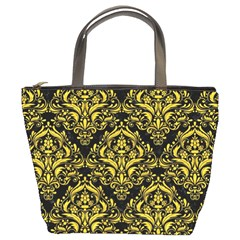Damask1 Black Marble & Yellow Colored Pencil (r) Bucket Bags