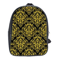 Damask1 Black Marble & Yellow Colored Pencil (r) School Bag (large)