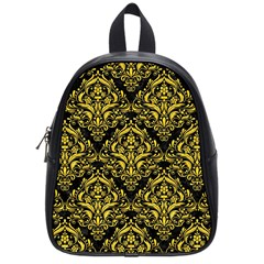 Damask1 Black Marble & Yellow Colored Pencil (r) School Bag (small)