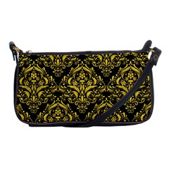 Damask1 Black Marble & Yellow Colored Pencil (r) Shoulder Clutch Bags