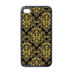 Damask1 Black Marble & Yellow Colored Pencil (r) Apple Iphone 4 Case (black)