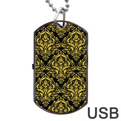 Damask1 Black Marble & Yellow Colored Pencil (r) Dog Tag Usb Flash (one Side)