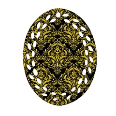 Damask1 Black Marble & Yellow Colored Pencil (r) Oval Filigree Ornament (two Sides)