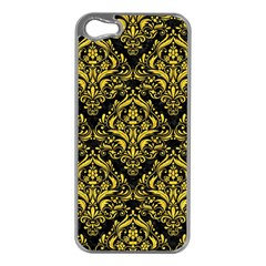 Damask1 Black Marble & Yellow Colored Pencil (r) Apple Iphone 5 Case (silver)