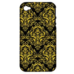 Damask1 Black Marble & Yellow Colored Pencil (r) Apple Iphone 4/4s Hardshell Case (pc+silicone)