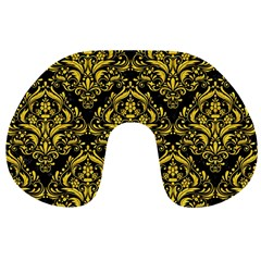 Damask1 Black Marble & Yellow Colored Pencil (r) Travel Neck Pillows