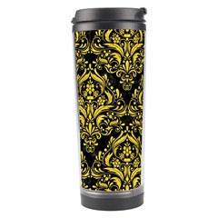 Damask1 Black Marble & Yellow Colored Pencil (r) Travel Tumbler