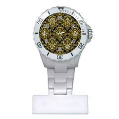 Damask1 Black Marble & Yellow Colored Pencil (r) Plastic Nurses Watch