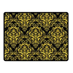 Damask1 Black Marble & Yellow Colored Pencil (r) Double Sided Fleece Blanket (small)