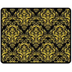 Damask1 Black Marble & Yellow Colored Pencil (r) Double Sided Fleece Blanket (medium)