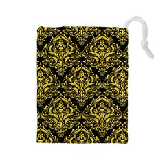 Damask1 Black Marble & Yellow Colored Pencil (r) Drawstring Pouches (large)