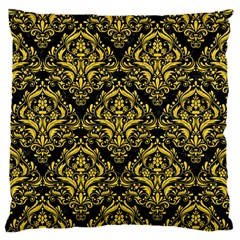 Damask1 Black Marble & Yellow Colored Pencil (r) Standard Flano Cushion Case (two Sides)